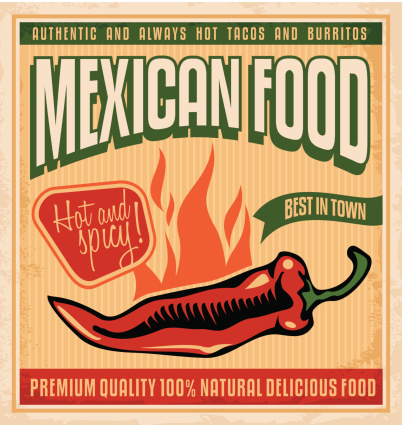 Graphic sign for Mexican food with a flaming pepper