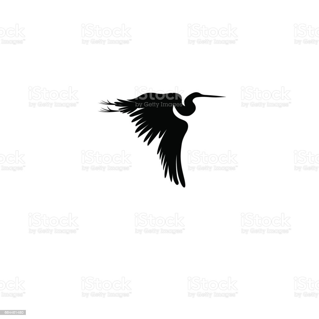 Graphic sign of a flying heron vector art illustration