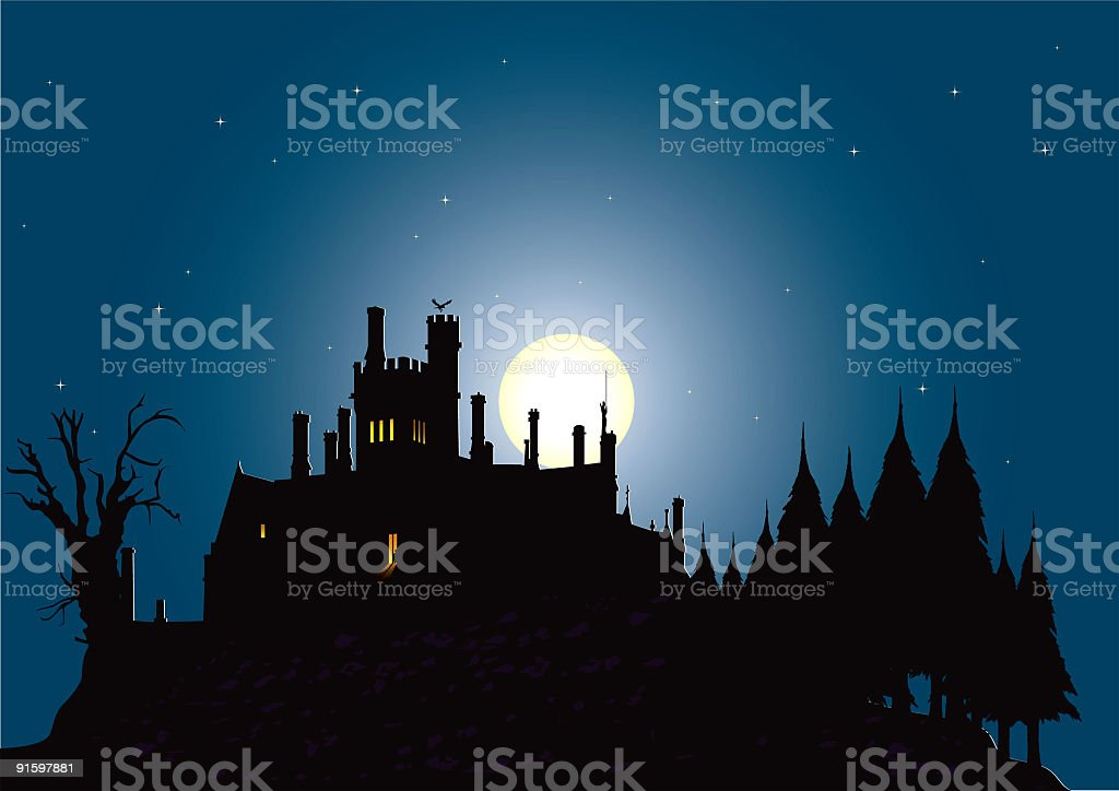 Graphic silhouette illustration of a haunted house vector art illustration