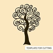 Template for laser cutting, wood carving, paper cut and printing. Vector illustration.