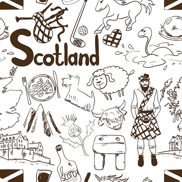 graphic sketch scotland seamless pattern. - haggis stock illustrations, clip art, cartoons, & icons