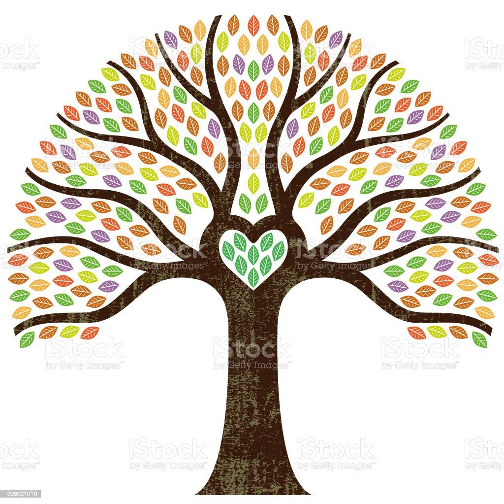 Ilustración de árbol gráfico pequeño corazón - ilustración de arte vectorial