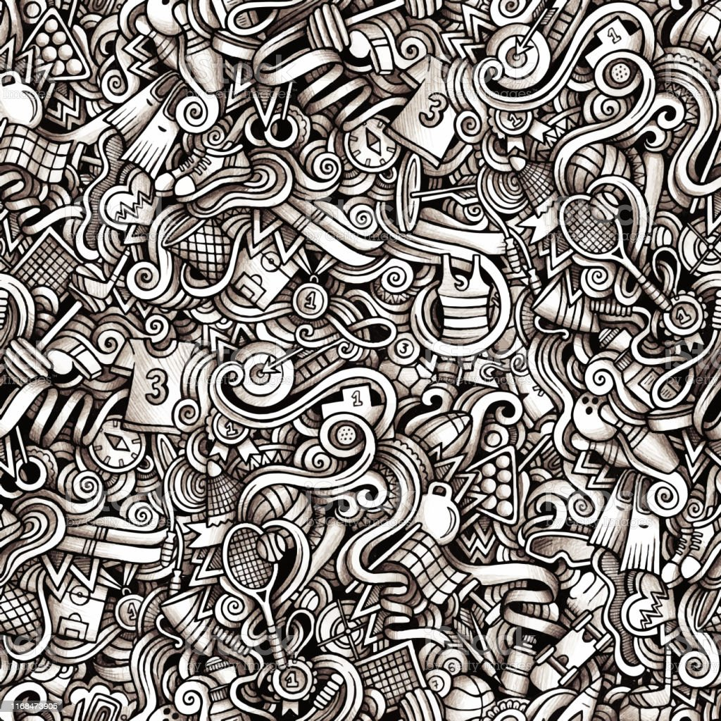 Graphic Sport hand drawn artistic doodles seamless pattern....