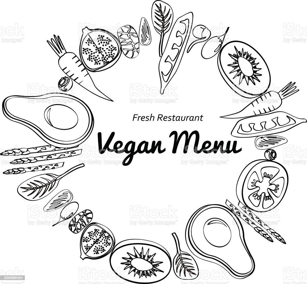 Graphic Stroke Vegetables And Fruit Round Art Vegan