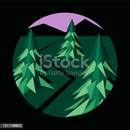 istock Graphic stylish illustration in a circle. Evening landscape with Christmas trees, road and mountains. Concept of ecology, saving the environment, travel 1311766622