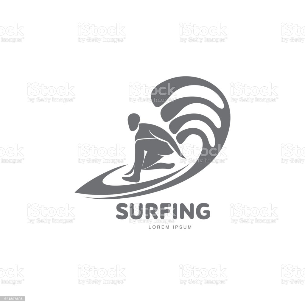 graphic surfing template with surfer surfboard and wave stock vector