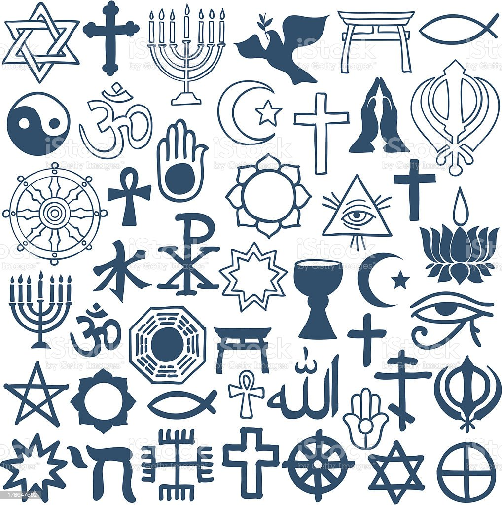 Graphic symbols of different religions on white vector art illustration