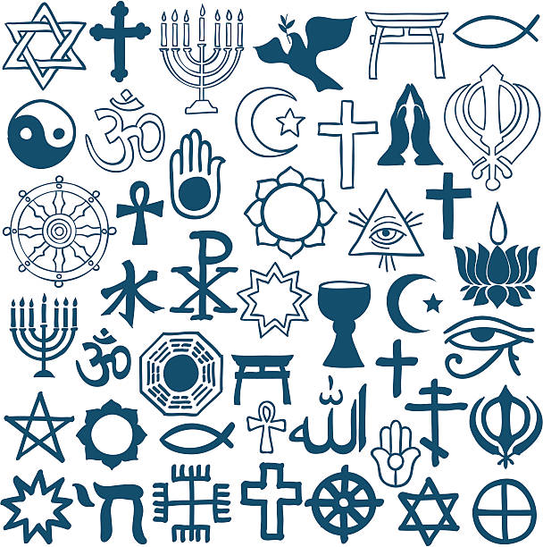 Graphic symbols of different religions on white Blue graphic symbols of different religions as Christinity, Islam, Judaism, Buddhism, Jainism, Sikhism or Lamaism, on white background religious symbol stock illustrations