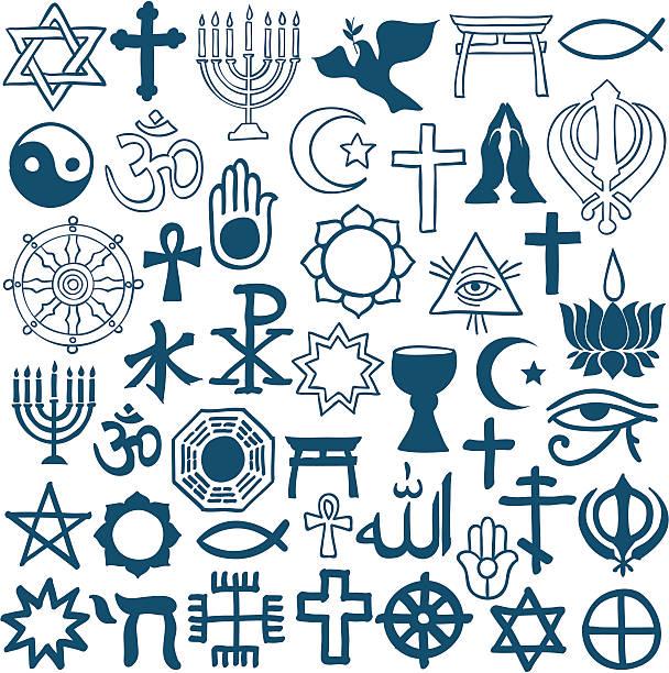 graphic symbols of different religions on white - religious symbols stock illustrations, clip art, cartoons, & icons
