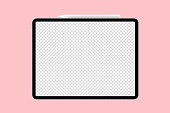 graphic tablet with pen realistic mockup vector illustration