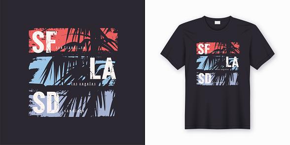 SF LA SD graphic tee vector design with palm tree silhouette.