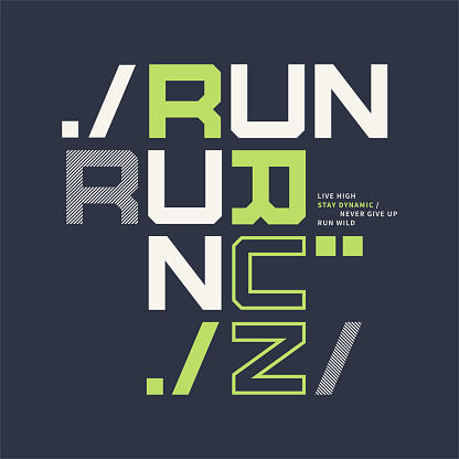 Graphic t-shirt design on the topic of sports running.
