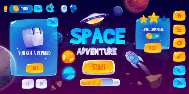 Graphic user interface for space adventure game Graphic user interface for space adventure game. Vector screen of app gui design with glossy menu buttons and icons, panel with level and assets, start banner and background with rocket and planets leisure games stock illustrations