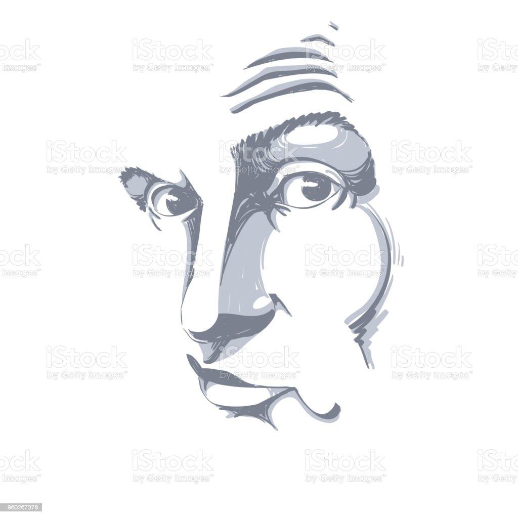 グラフィック ベクトル詐欺師偽男の肖像画の手描きイラスト人の顔の式顔