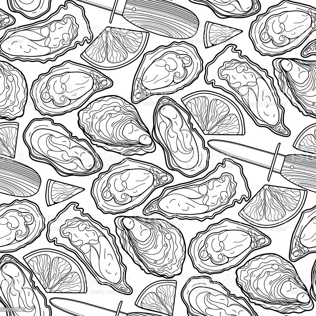 Graphic vector oysters pattern vector art illustration