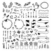 Graphic vector set with hand drawn ribbons, plants, floral elements, wreaths, feathers and arrows. Cute boho style illustrations on white background