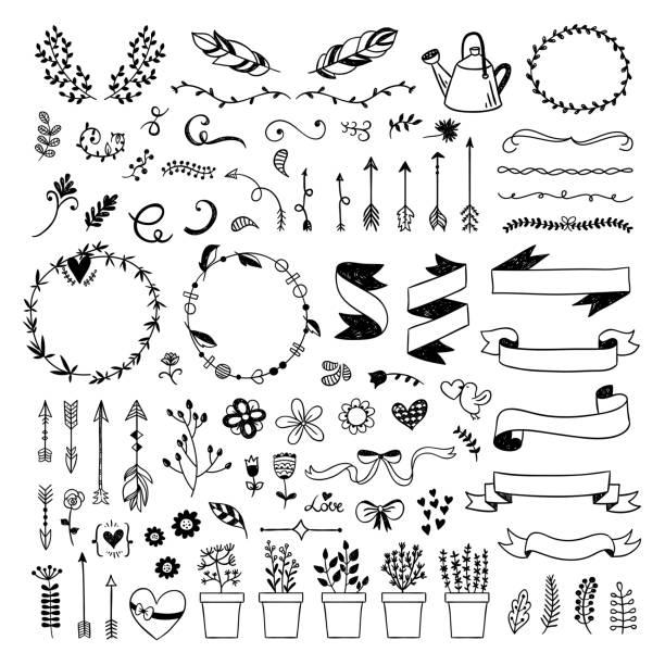 그래픽 벡터와 손으로 그린 리본, 식물, 꽃 요소, 화 환, 깃털 화살표 설정입니다. 흰색 바탕에 귀여운 boho 스타일 일러스트 - 머리 리본 stock illustrations