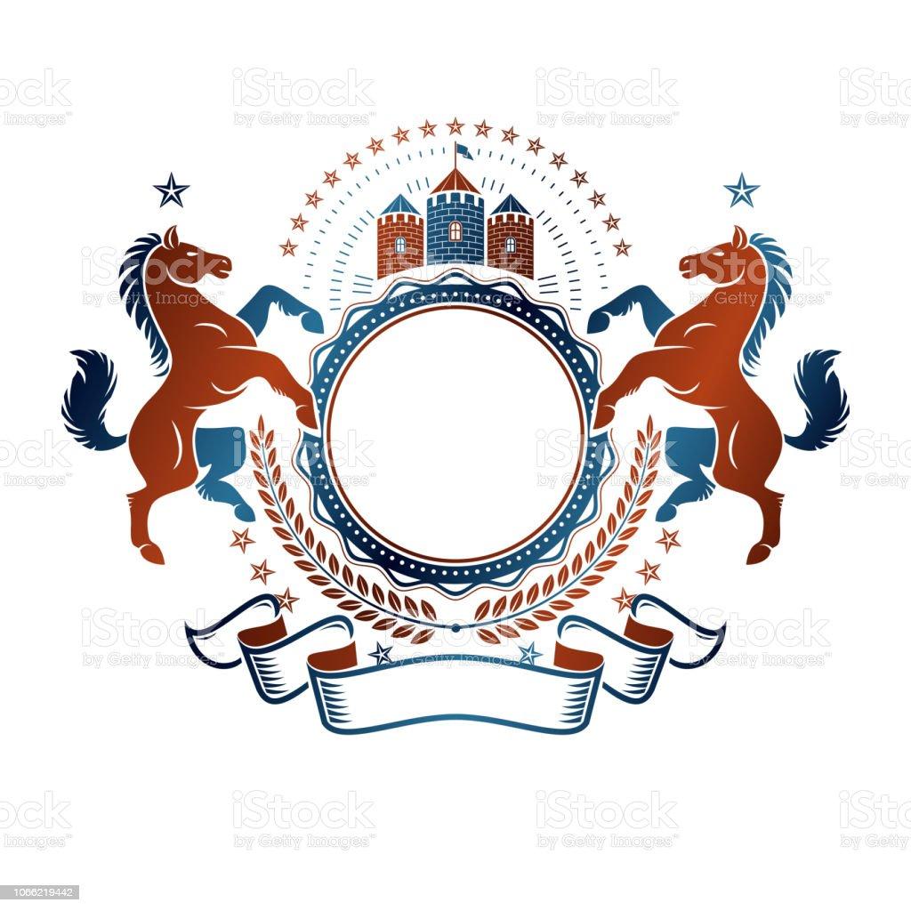 Gráfica emblema vintage com elemento animal cavalo, torre medieval e fita decorativa vermelha. Elemento de design vector heráldica. Rótulo de estilo retrô, heráldica. - ilustração de arte em vetor