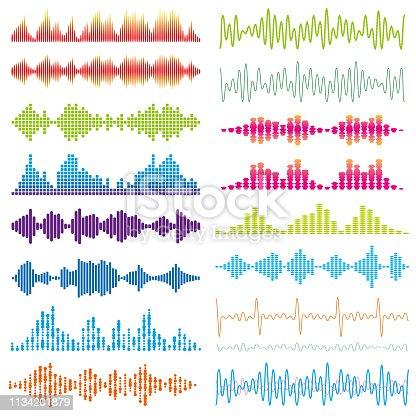 Vector illustration of a set of Beautiful Graphic Waves Acoustic Sound