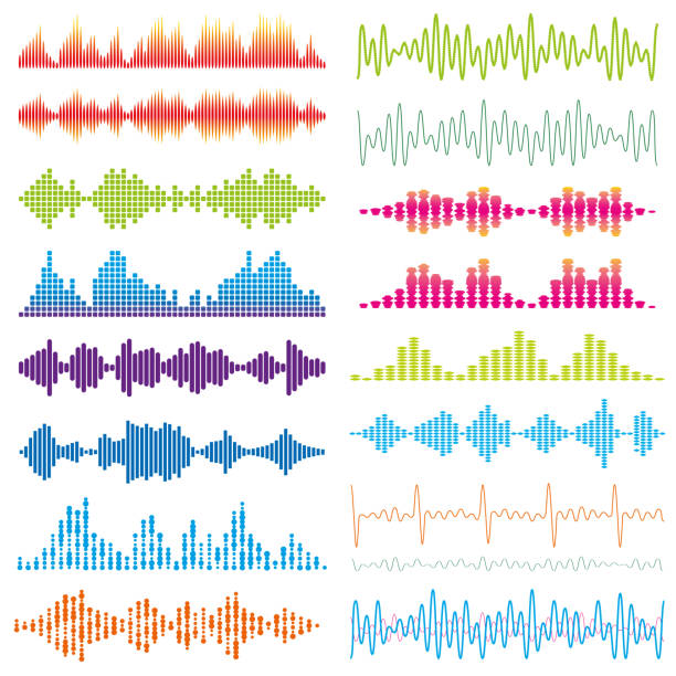 graphic waves acoustic sound - sound wave stock-grafiken, -clipart, -cartoons und -symbole
