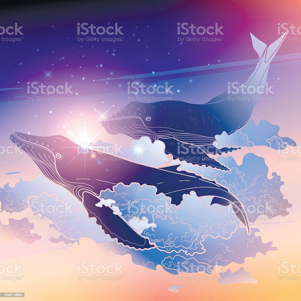 Grafik Wale fliegen in den Himmel – Vektorgrafik