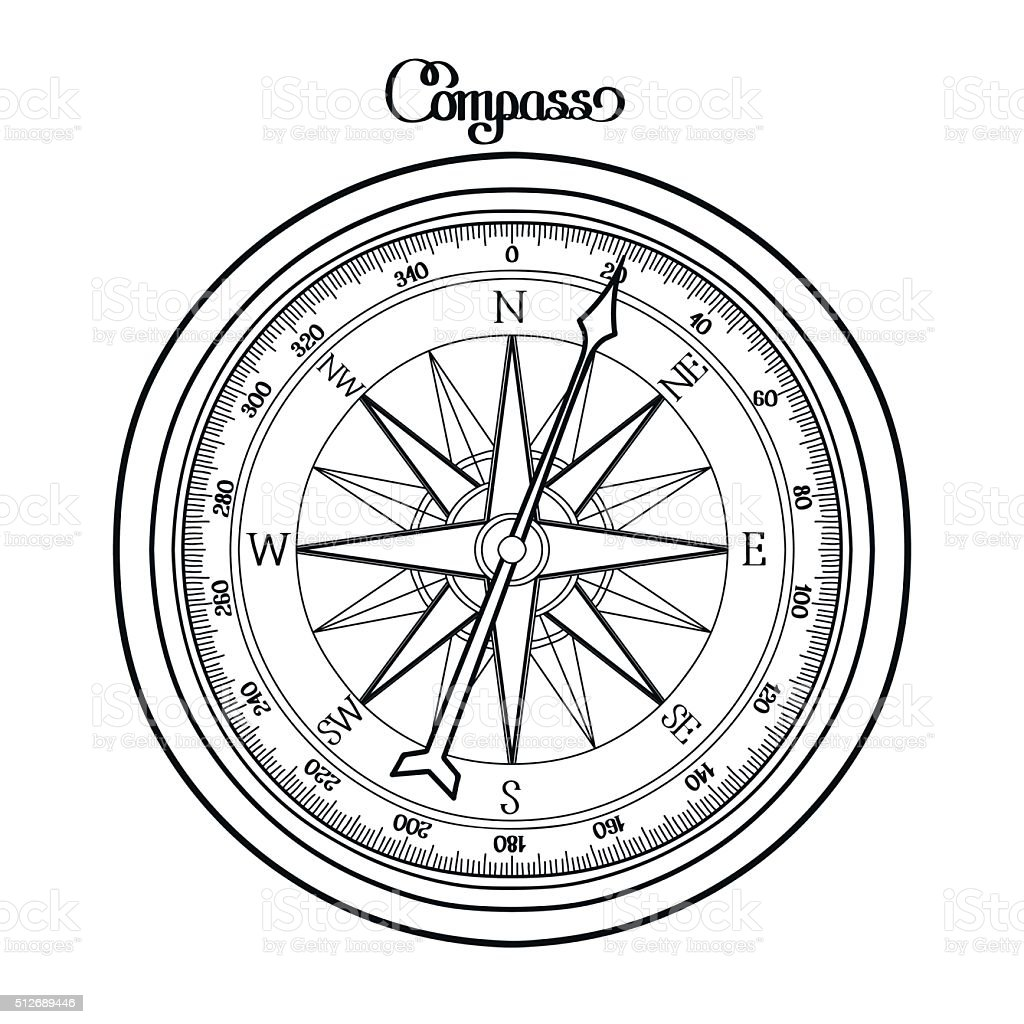 Graphic wind rose compass vector art illustration