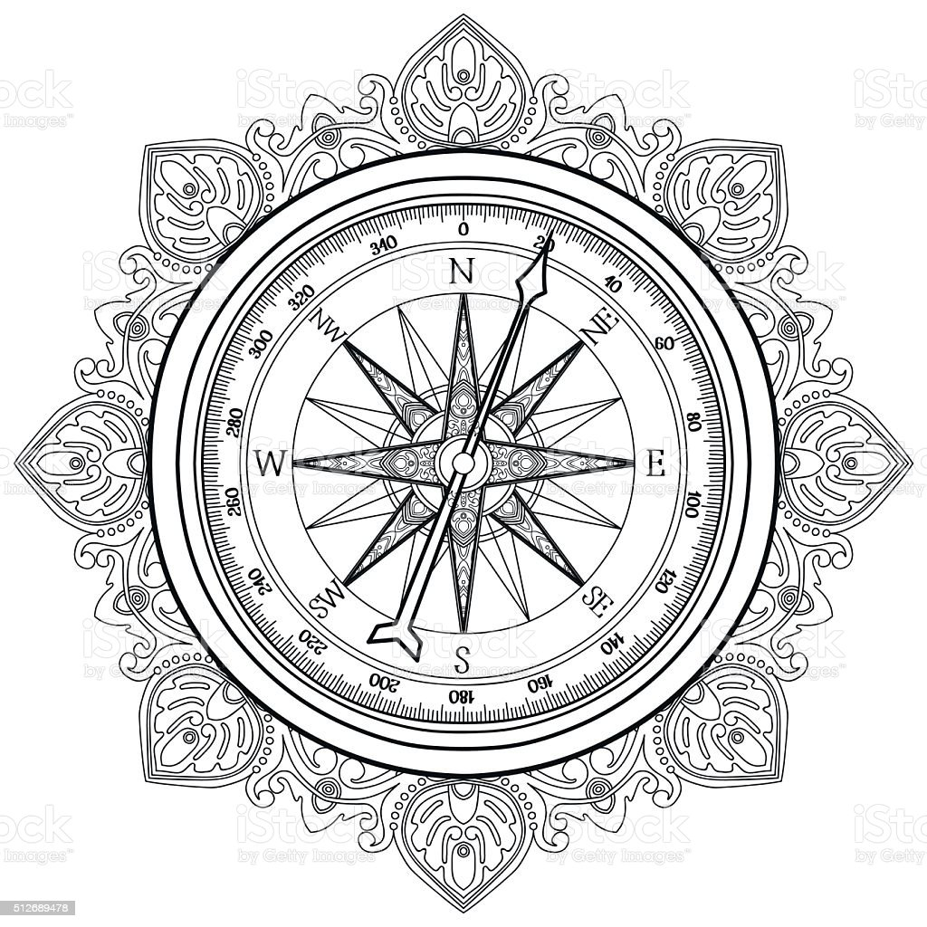 Graphic Wind Rose Compass Stock Illustration   Download Image Now