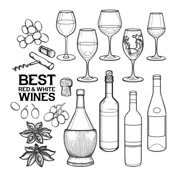 グラフィックのワイングラス、ボトル、その他の美味しい料理 - マスカット イラスト点のイラスト素材/クリップアート素材/マンガ素材/アイコン素材