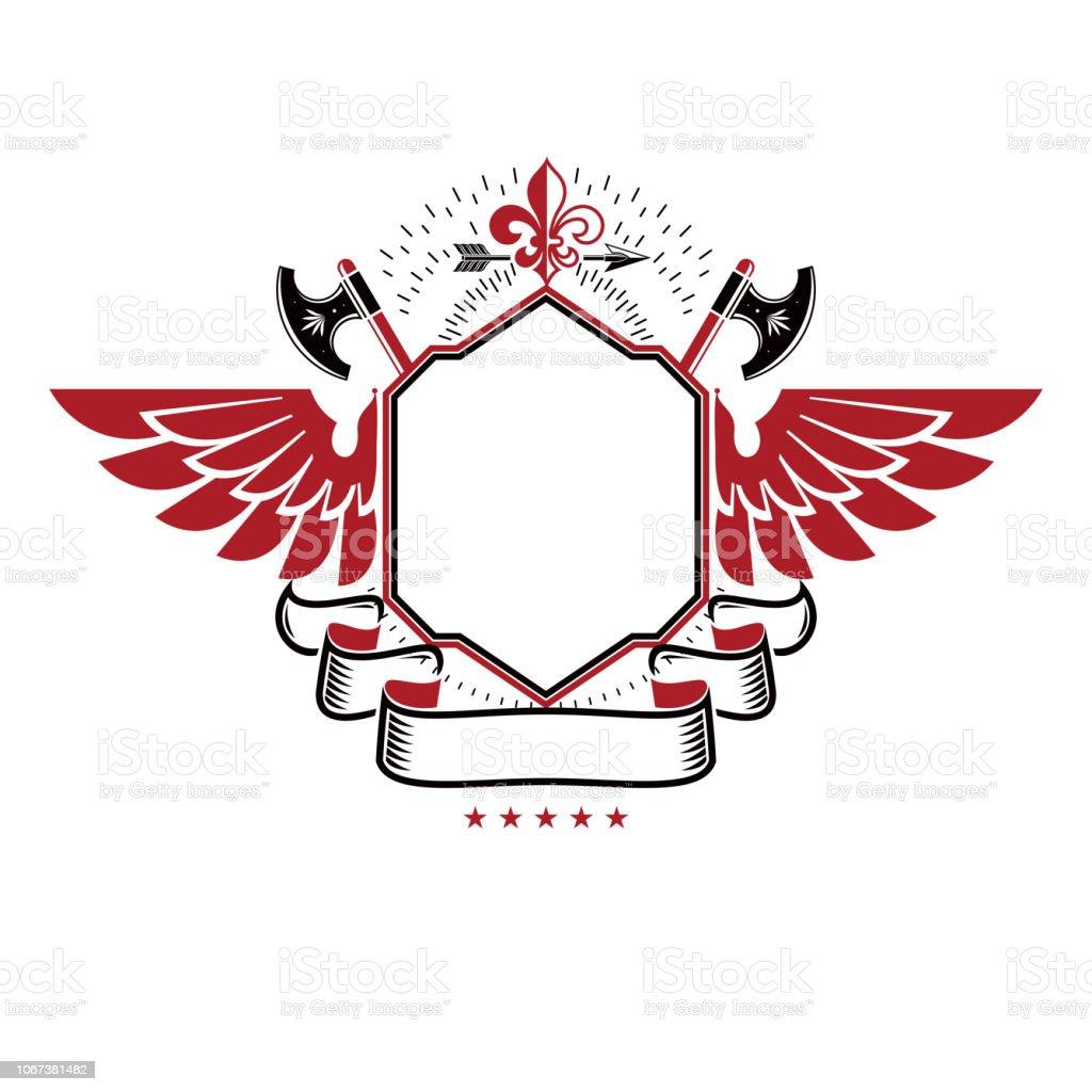 Gráfico alado emblema composto com o símbolo real Lily Flower, machados afiados e lança. Elemento de design vector heráldica. Rótulo de estilo retrô, heráldica. - ilustração de arte em vetor