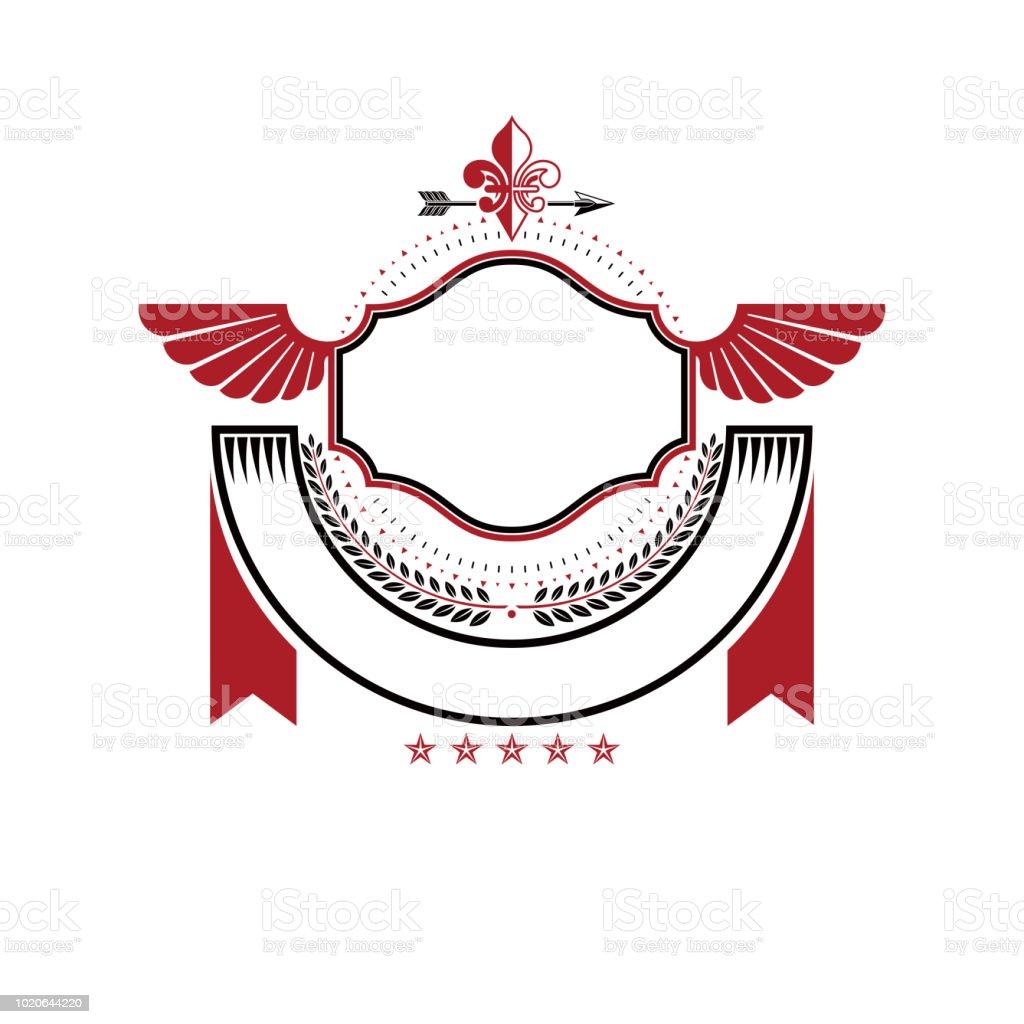 Gráfico alado emblema criada usando o símbolo real Lily Flower, lança e fita decorativa vermelha. Ilustração em vetor brasão heráldico sinal decorativo isolado. - ilustração de arte em vetor