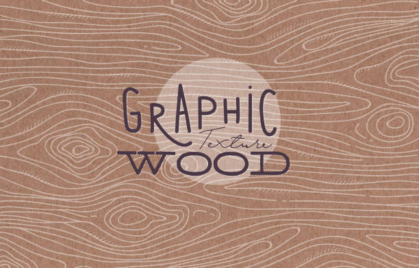 Graphic wood texture brown Wood graphic texture drawing with grey lines on brown background carpenter stock illustrations