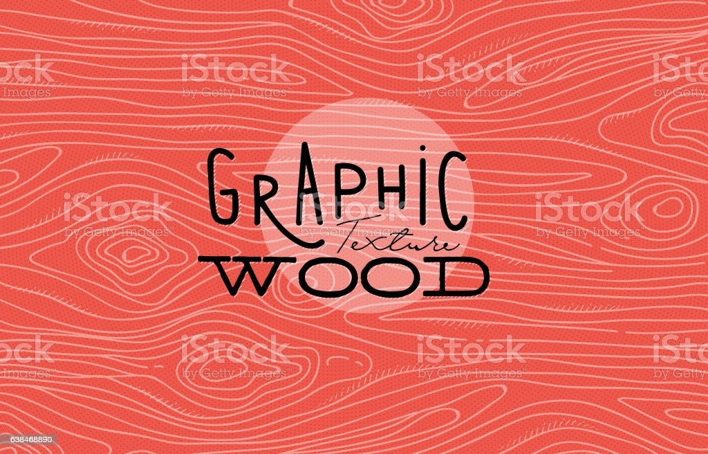 Graphic wood texture coral vector art illustration