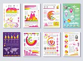 Graphical Business Report Vector Template Modern Infographic Set