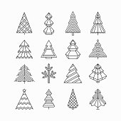 Graphical Christmas tree set, hipster linear style