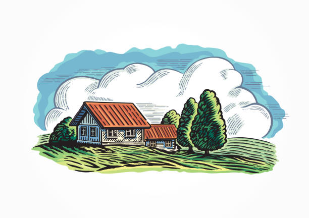 Graphical countryside landscape, with village. vector art illustration