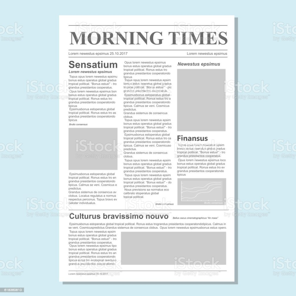 Graphical Design Newspaper Journal Template Vector Paper Tabloid On ...