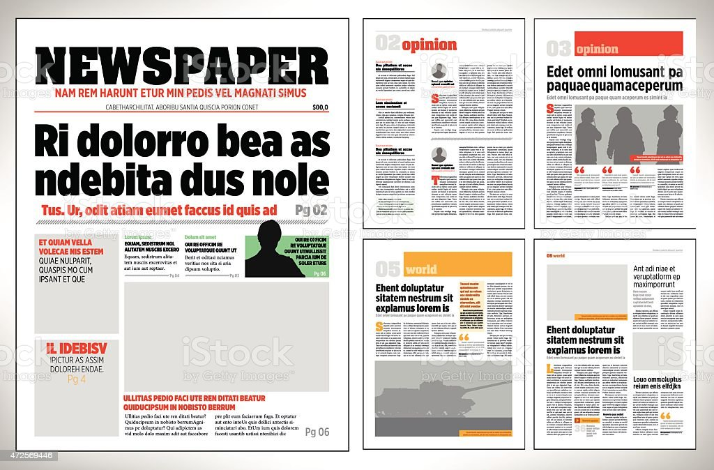 Graphical Design Newspaper Template Stock Vector Art More Images