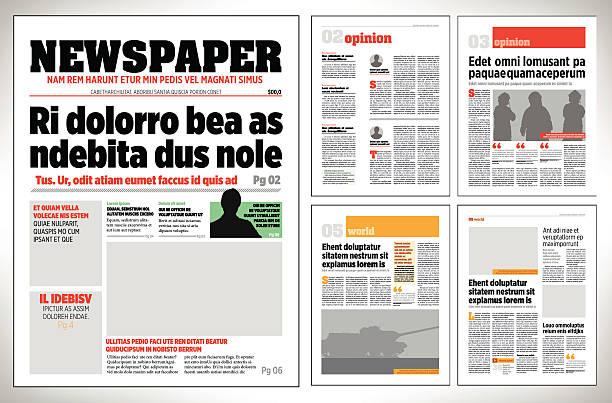 grafische design vorlage tageszeitung - editorial stock-grafiken, -clipart, -cartoons und -symbole