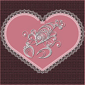 Decorative zodiac sign Cancer. Horoscope and astrology (astronomy)-symbol. Lace heart-concept of love for Valentine's day. Vector illustration.