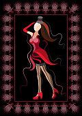 Woman (girl, lady, female)-cabaret dancer. Suitable for invitation, flyer, sticker, poster, banner, card,label, cover, web. Vector illustration.