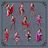 Women (girls, ladies, females)-cabaret dancers-set (kit, group). Suitable for invitation, flyer, sticker, poster, banner, card,label, cover, web. Vector illustration.