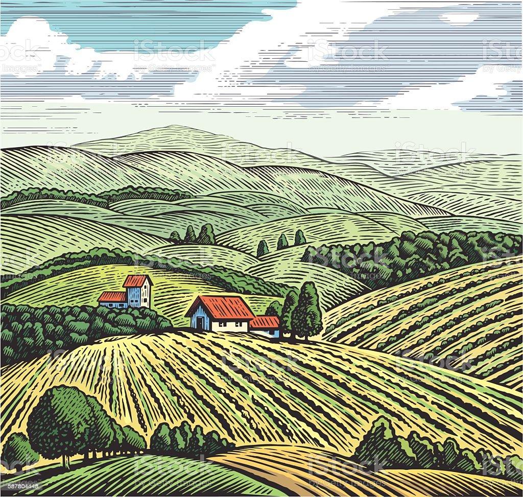 Graphical rural landscape vector art illustration