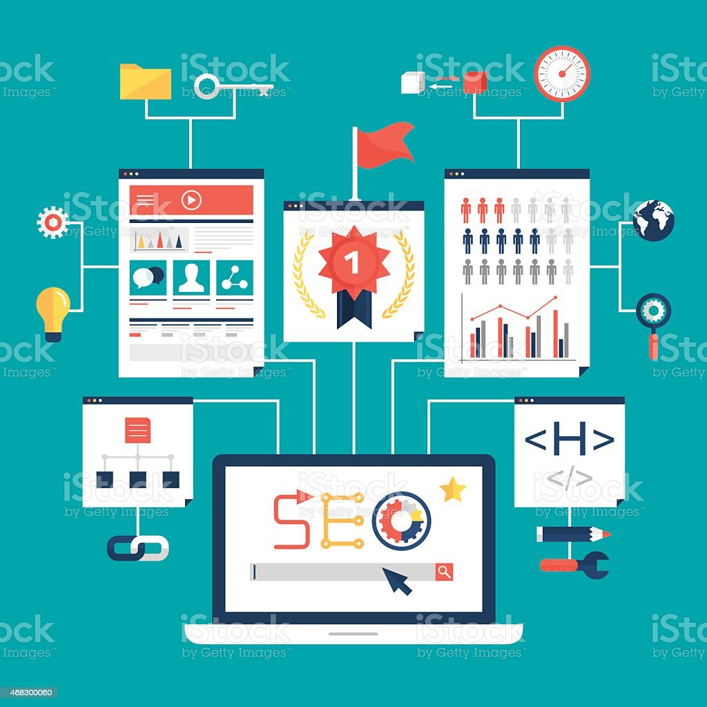 A graphical schematic explaining search engine optimization vector art illustration