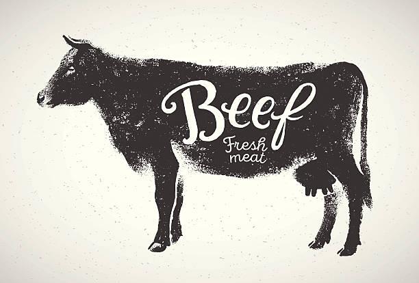 grafische kontur kuh. - rindfleisch stock-grafiken, -clipart, -cartoons und -symbole