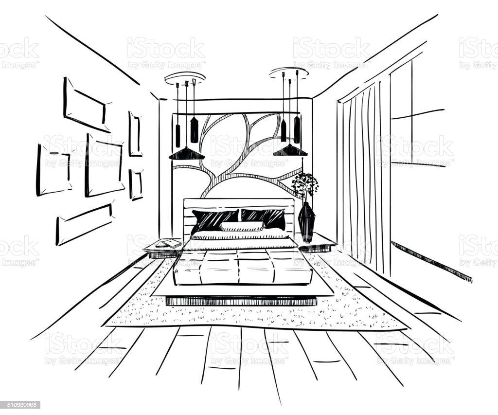 Dessin Graphique Dune Chambre Intérieure Vecteurs libres de ...