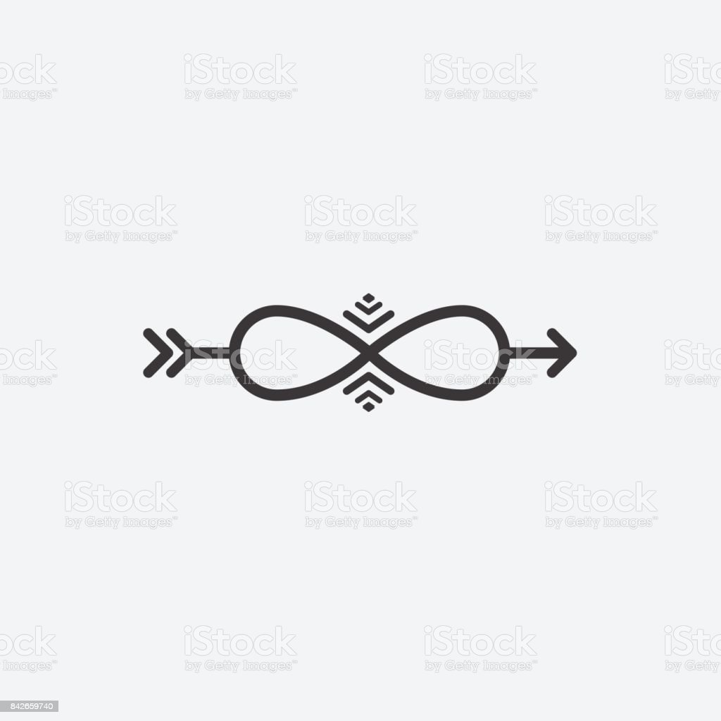 Graphical Symbol Of Infinity With An Arrow Vector Illustration Of A