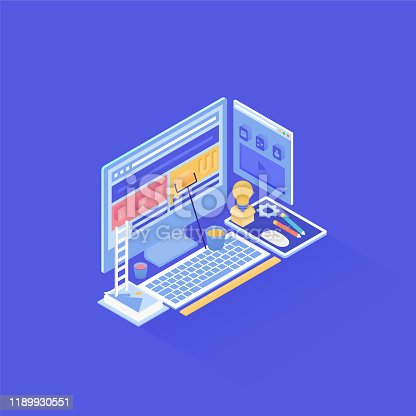 Graphical user interface design in isometric vector illustration