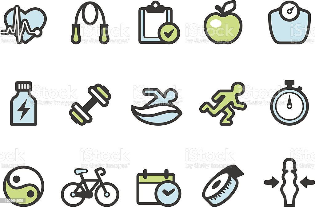 Graphico icons - Healthy Lifestyle vector art illustration