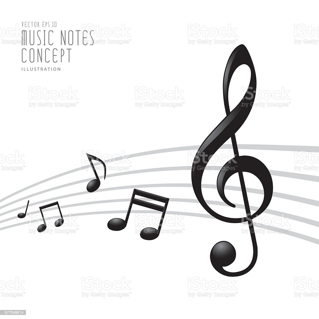 Graphics Icon Symbol Of Music Notes And Treble Clef Vector Stock