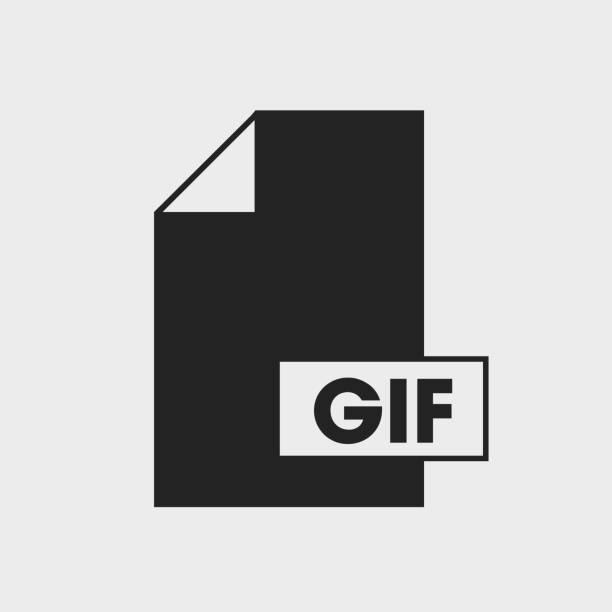 그래픽 교환 형식 (gif) 파일 아이콘 회색 배경에. - gif stock illustrations